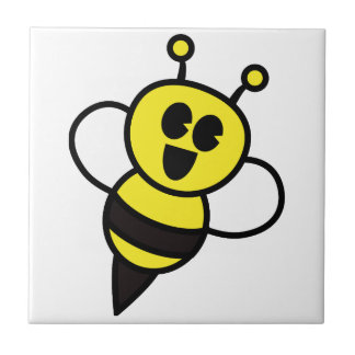 Happy cartoon bee ceramic tile