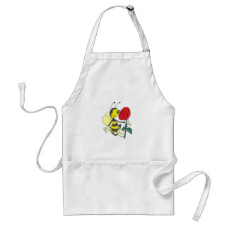 Happy Cartoon Bee Holding and Smelling a Red Rose Adult Apron