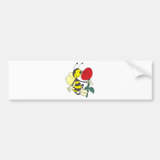 Happy Cartoon Bee Holding and Smelling a Red Rose Bumper Sticker