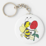 Happy Cartoon Bee Holding and Smelling a Red Rose Basic Round Button Keychain
