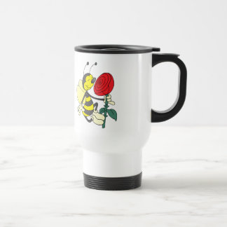 Happy Cartoon Bee Holding and Smelling a Red Rose Travel Mug