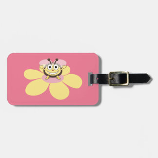 Happy Cartoon Bee Pink Personalized Kids Bag Tag