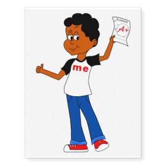 Happy Cartoon Boy holding A Paper Temporary Tattoo