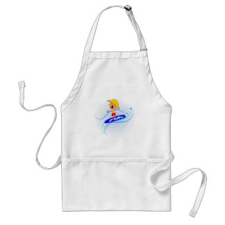 Happy Cartoon Boy Surfing Waves with Arms Out Adult Apron