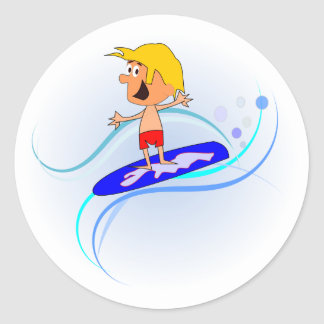 Happy Cartoon Boy Surfing Waves with Arms Out Classic Round Sticker