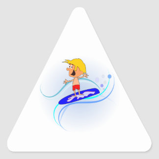Happy Cartoon Boy Surfing Waves with Arms Out Triangle Sticker
