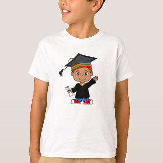 Happy Cartoon Boy Wearing Cap and Gown T-shirt