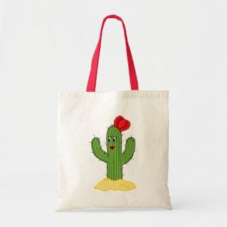Happy Cartoon Cactus Gal Canvas Bags