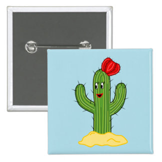 Happy Cartoon Cactus Gal (Blue Background) Buttons