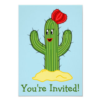 Happy Cartoon Cactus Gal (Blue Background) Card