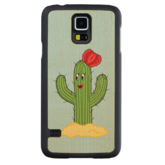 Happy Cartoon Cactus Gal (Blue Background) Carved® Maple Galaxy S5 Slim Case