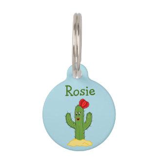 Happy Cartoon Cactus Gal Blue Background Pet Tags