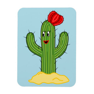 Happy Cartoon Cactus Gal (Blue Background) Magnet