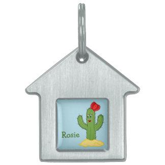 Happy Cartoon Cactus Gal Blue Background Pet ID Tags