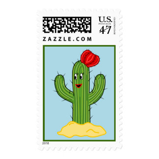 Happy Cartoon Cactus Gal (Blue Background) Postage
