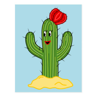 Happy Cartoon Cactus Gal (Blue Background) Postcard