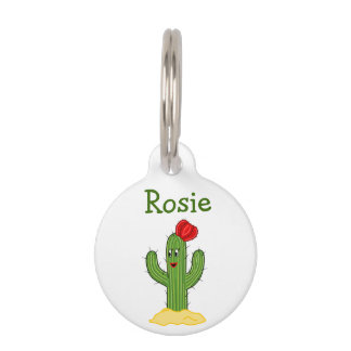 Happy Cartoon Cactus Gal Pet Name Tags