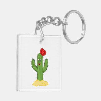 Happy Cartoon Cactus Gal Keychain