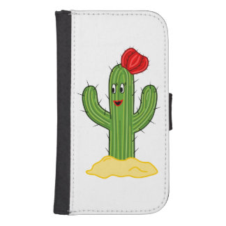 Happy Cartoon Cactus Gal Samsung S4 Wallet Case