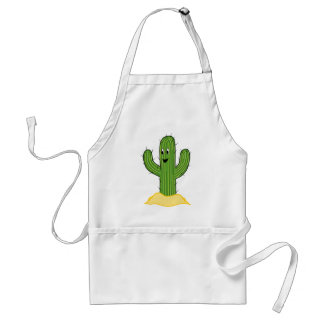 Happy Cartoon Cactus Guy Adult Apron