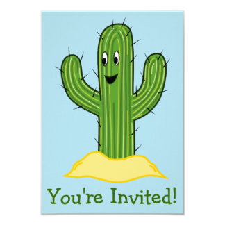 Happy Cartoon Cactus Guy (Blue Background) Card