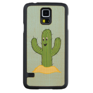 Happy Cartoon Cactus Guy (Blue Background) Carved® Maple Galaxy S5 Case