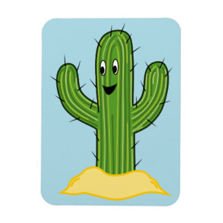 Happy Cartoon Cactus Guy (Blue Background) Magnet