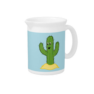 Happy Cartoon Cactus Guy (Blue Background) Pitchers