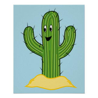 Happy Cartoon Cactus Guy (Blue Background) Poster