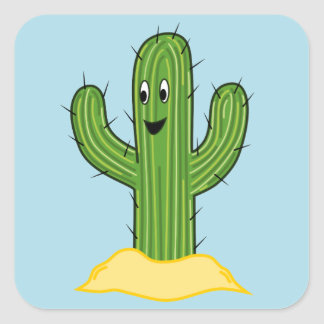 Happy Cartoon Cactus Guy (Blue Background) Square Sticker