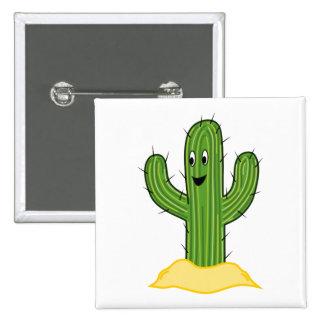Happy Cartoon Cactus Guy Buttons