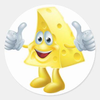 Happy cartoon cheese man stickers