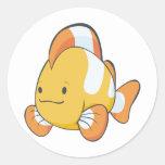 Happy Cartoon Clownfish Round Sticker