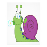 happy cartoon colorful snail with flower personalized flyer