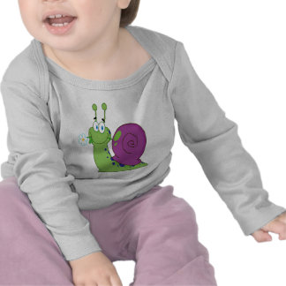 happy cartoon colorful snail with flower tshirt