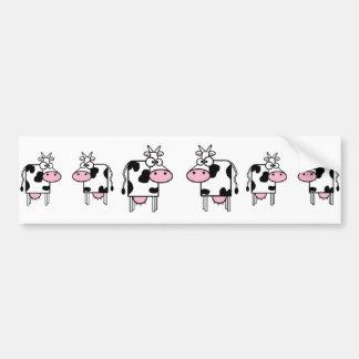 Happy Cartoon Cows Bumper Sticker