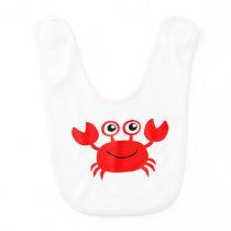 Happy Cartoon Crab Baby Bib