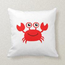 Happy Cartoon Crab Throw Pillow