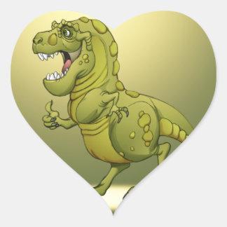 Happy Cartoon Dinosaur Giving the Thumbs Up! Heart Sticker