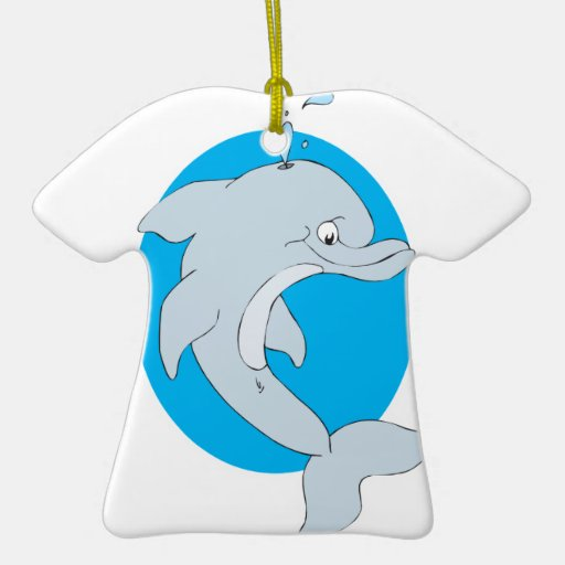 happy cartoon dolphin christmas ornament