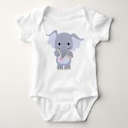 Happy Cartoon Elephant Baby Apparel Tshirt
