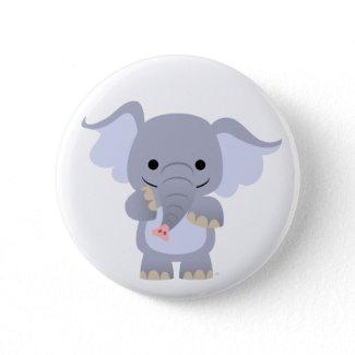 Happy Cartoon Elephant button badge button