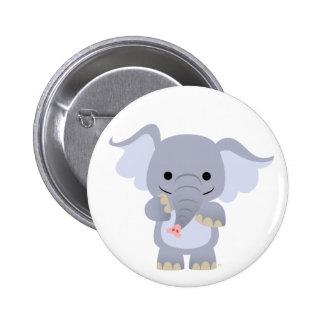 Happy Cartoon Elephant button badge