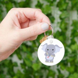 Happy Cartoon Elephant Keychain keychain