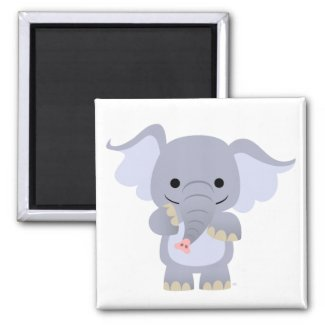 Happy Cartoon Elephant Magnet magnet