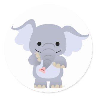 Happy Cartoon Elephant Sticker sticker