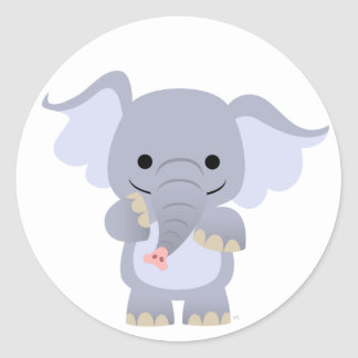 Happy Cartoon Elephant Sticker