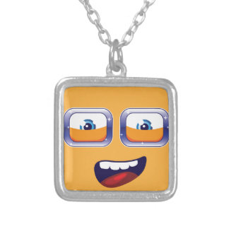 Happy Cartoon Eyes and Mouth Silver Plated Necklace