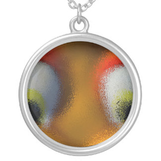 Happy Cartoon Eyes, Yellow, playground starfish Silver Plated Necklace