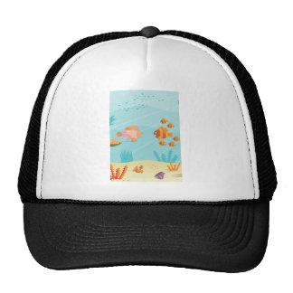 Happy Cartoon Fish Families Mesh Hat